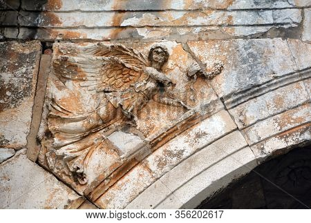 Pula Croatia 05 22 2019: Details Of The Arch Of The Sergii Is An Ancient Roman Triumphal Arch. The A