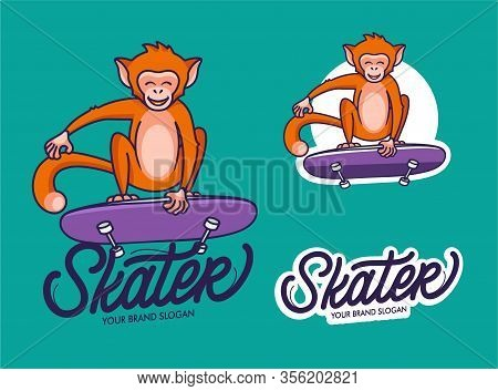Set Of Monkey Skater Funny Logotype With Text, Phrase.jungle Macaque Character
