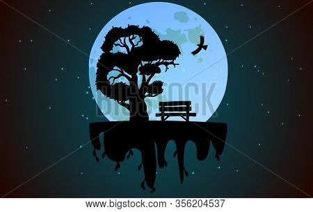 Bench Under A Tree Against The Backdrop Of A Huge Moon. Landscape With A Soaring Island. Can Be Used