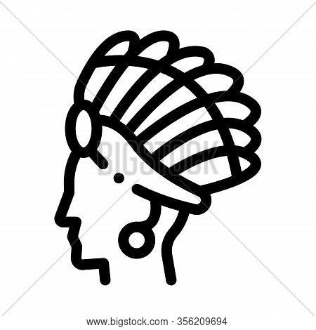 Aztec Headdress Icon Vector. Outline Aztec Headdress Sign. Isolated Contour Symbol Illustration
