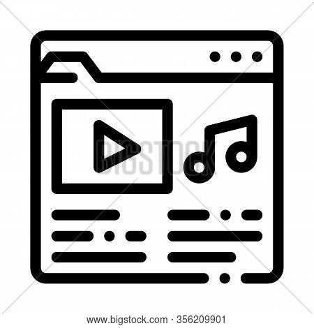 Music Folder With Songs Icon Vector. Outline Music Folder With Songs Sign. Isolated Contour Symbol I