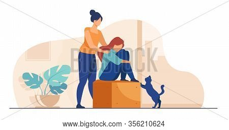 Woman Giving Comfort And Support To Friend, Keeping Palms On Her Shoulder. Girl Feeling Stress, Lone