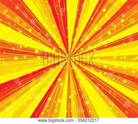 Radial Speed Lines With Focus In The Center. Abstract Background With Bright Red Yellow Colors Rays,