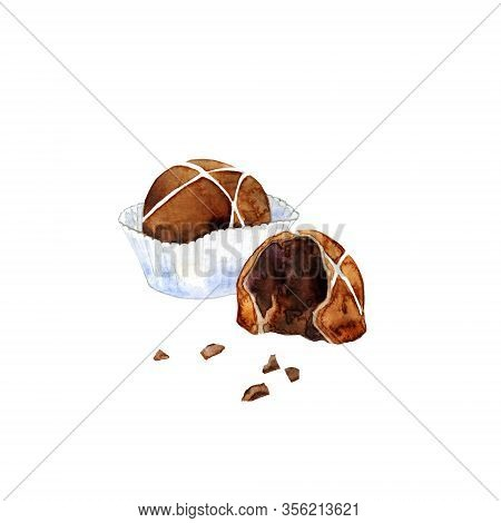Milk Chocolate Praline In Paper Cup And Half Of Candy. Watercolor Illustration Of Cocoa Confection I