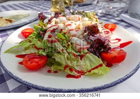 Tasty Salad With Different Tomatoes, Red Pepper, Lambs Lettuce, Cucumber, Lettuce And Lambs Lettuce.