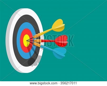 Darts Target. Success Business Concept. Creative Idea 3d Illustration Isolated. Colorful Bullseye Da