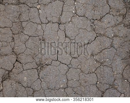 Cracked Dry Brown Ground Surface, Natural Ground Texture Background