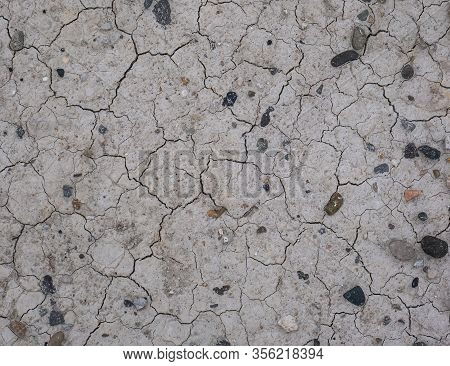 Cracked Drought Earth, Dry Land Surface, Gray Cracked Ground Surface Texture