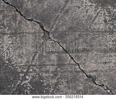 Concrete Wall Diagonally Cracked Surface Background, Diagonally Cracked Wall