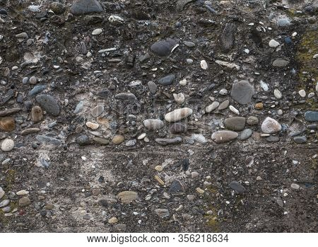 Stone Concrete Wall Surface Texture, Background With Stones , Rough Wall