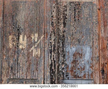 Wooden Door With Scratches Old Door Background, Wooden Gate  Texture