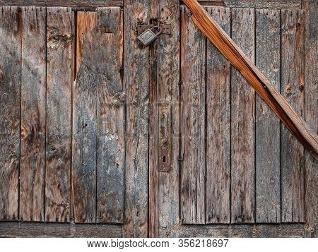 Old Door With Lock, Old Gate Surface, Wooden Door Texture