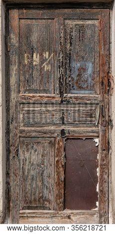 Old Wooden Door With Rotten Boards, Scary Door , Full Height Wooden Door Texture
