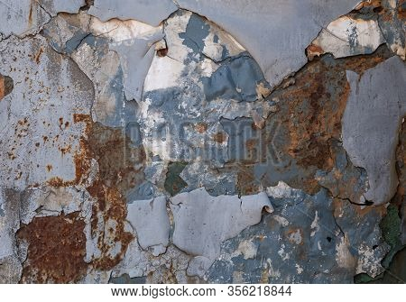 Metal Texture With Corrosion With Crumbling Paint, Rusted Blue And White Painted Metal Wall