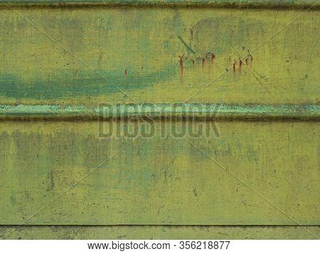 Train Metal Fence, Green Metal Background, Rusty Green Metal