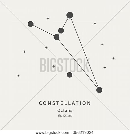 The Constellation Of Octans. The Octant - Linear Icon. Vector Illustration Of The Concept Of Astrono