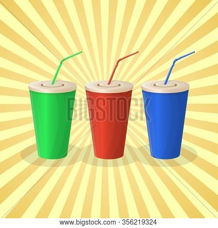 Soda Cups In Red, Green And Blue Color On Yellow Background. The Set Of Beverage. Graphic Design Ele