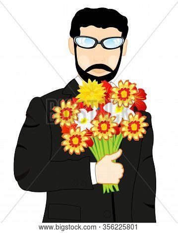 Man In Fashionable Suit With Bouquet Flower