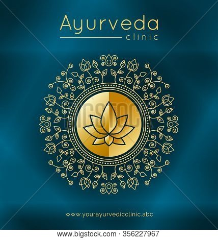 Ayurveda Poster With Ethnic Patterns And Sample Text In Gold Tones On A Blue Gradient Backdrop For U