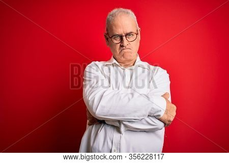Middle age handsome hoary man wearing casual shirt and glasses over red background skeptic and nervous, disapproving expression on face with crossed arms. Negative person.