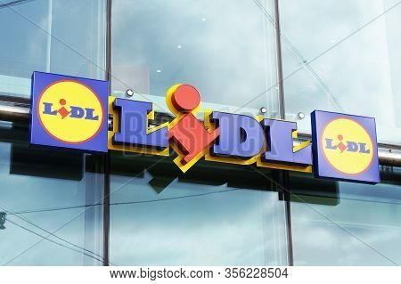 Hannover, Germany - March 02, 2020: Lidl Logo Sign At Local Branch Of German Discounter Supermarket