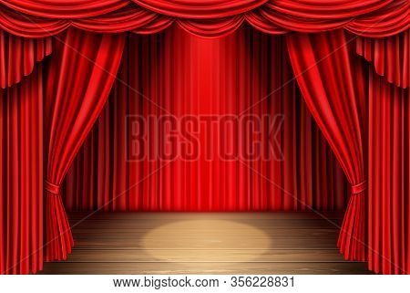 Red Stage Curtain And Wooden Floor Realistic Vector. Theater, Opera Scene Drape Backdrop, Concert Gr