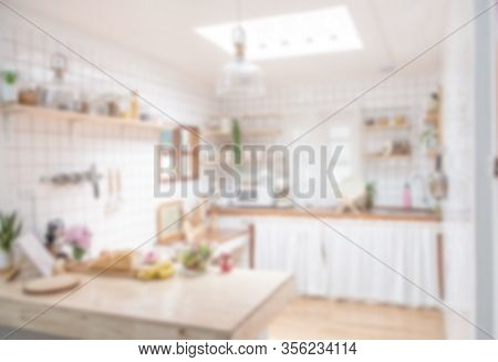 Blur Background Interior Design For Advertising, Scandinavian Minimalistic Classic Kitchen With Wood