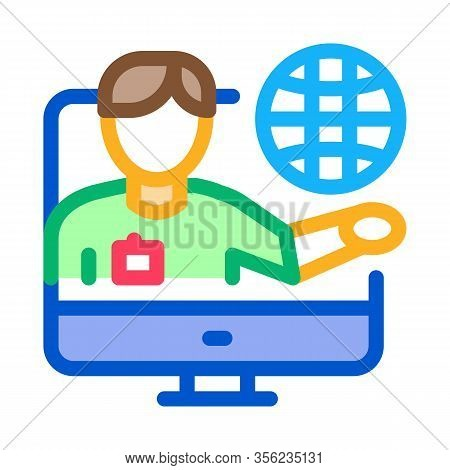 Online Computer Guide Icon Vector. Outline Online Computer Guide Sign. Isolated Contour Symbol Illus