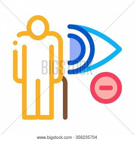 Elderly Vision Impairment Icon Vector. Outline Elderly Vision Impairment Sign. Isolated Contour Symb