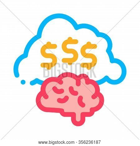Thoughts On Making Money Icon Vector. Outline Thoughts On Making Money Sign. Isolated Contour Symbol