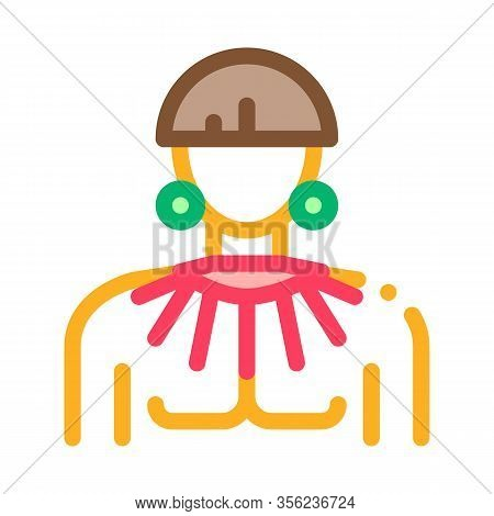 Young Aztec Man Icon Vector. Outline Young Aztec Man Sign. Isolated Contour Symbol Illustration