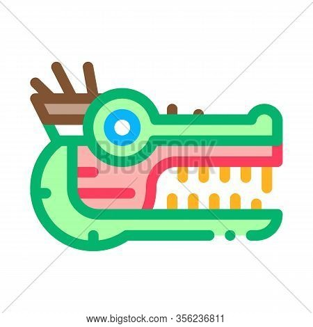 Sacred Totem Animal Head Icon Vector. Outline Sacred Totem Animal Head Sign. Isolated Contour Symbol