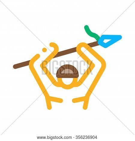 Indigenous Aztec With Spear Icon Vector. Outline Indigenous Aztec With Spear Sign. Isolated Contour