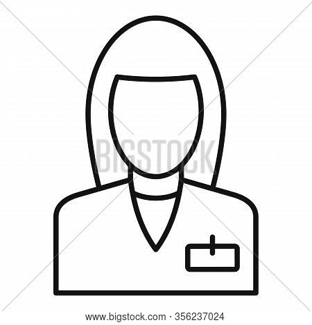Woman Pharmacist Icon. Outline Woman Pharmacist Vector Icon For Web Design Isolated On White Backgro