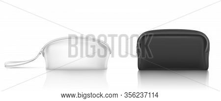 White, Black Cosmetic Bag With Zipper For Makeup And Beauty Tools. Vector Realistic Mockup Of Blank