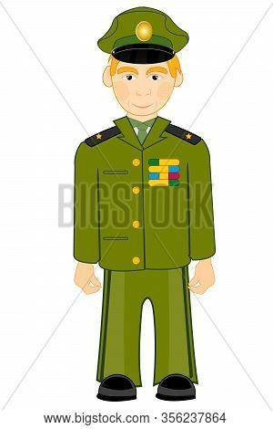 Military In Form On White Background Is Insulated