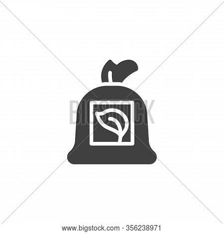 Plant Leaves Sack Vector Icon. Filled Flat Sign For Mobile Concept And Web Design. Seedling Bag Glyp