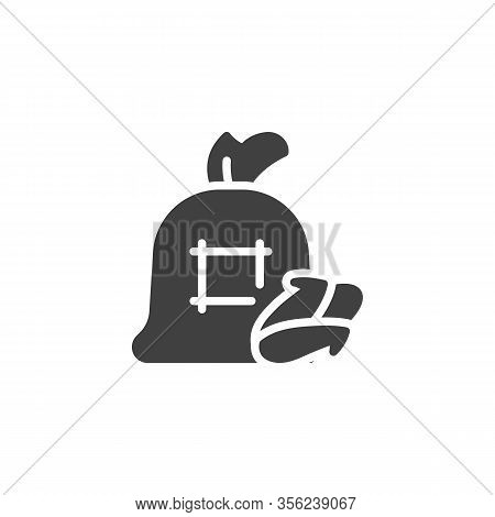 Corn Cob Sack Vector Icon. Filled Flat Sign For Mobile Concept And Web Design. Bag Of Maize Cob Glyp