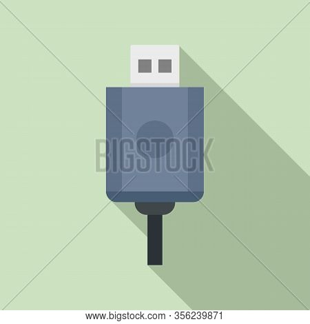 Usb Cable Icon. Flat Illustration Of Usb Cable Vector Icon For Web Design
