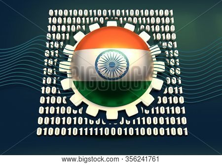Binary Code Background With Gear And Flag Of The India. Algorithm Binary, Data Code, Decryption And