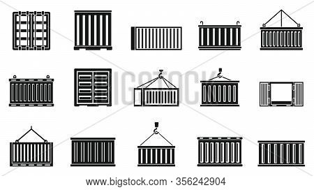 Cargo Container Ship Icons Set. Simple Set Of Cargo Container Ship Vector Icons For Web Design On Wh