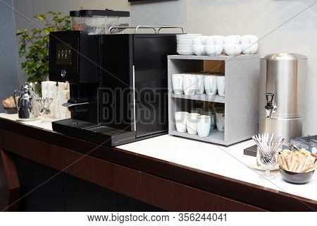 Coffee, Cups On Catering Table At Conference Or Wedding Banquet. Group Of Empty White Ceramic Cups F