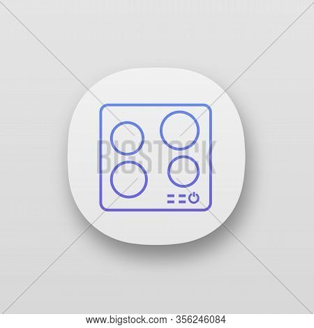 Electric Induction Hob App Icon. Cooktop. Cooking Panel, Surface. Induction Stove Or Built In Cooker