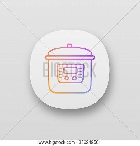 Multi Cooker App Icon. Ui Ux User Interface. Slow Cooker. Crock Pot. Pressure Multicooker. Kitchen A