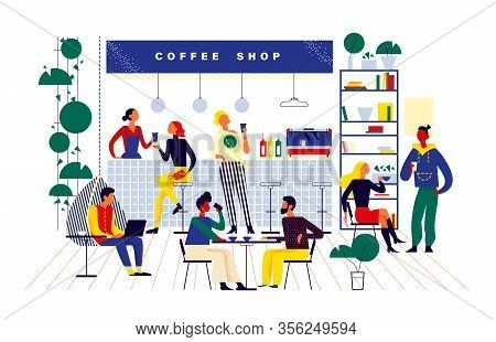 Young Stylish People In Coffeehouse Drinking Coffee At Bar Stand And Tables, Taking Coffee To Go, Ta