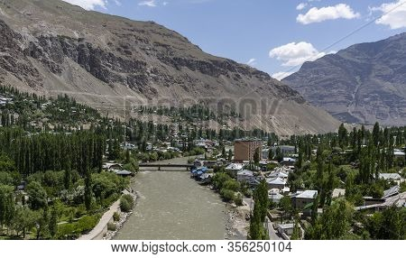 Khorog, Tajikistan - June 19, 2019: City Of Khorog With Modern Mosque And Gunt River And Mountains I