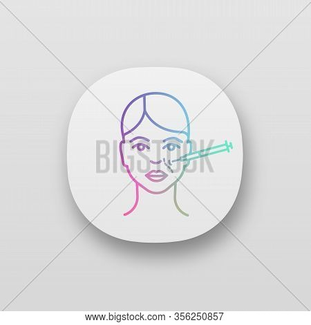 Nasolabial Folds Neurotoxin Injection App Icon. Anti Wrinkle Injection. Smile Wrinkles Reducing. Cos