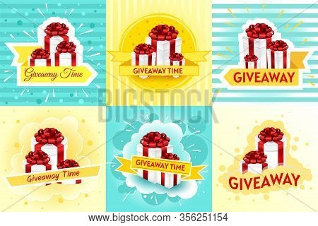 Giveaway Post. Give Away Gifts, Winner Reward And Gift Prize. Boxes With Ribbons Flyer Design Vector