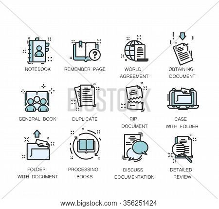 Document Icons. Vector Icon Set Of Legal Documents In Thin Line Style. Contains Icons As Contract, C