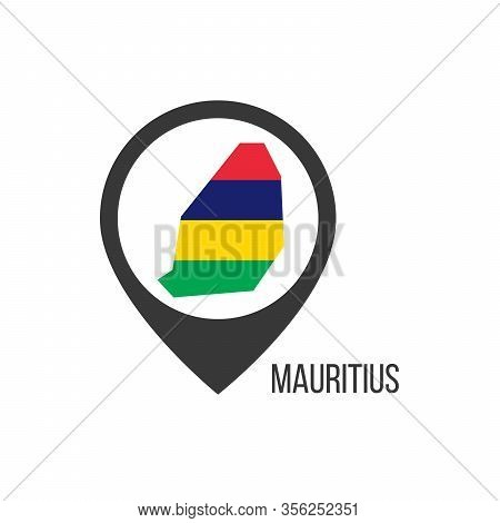 Map Pointers With Contry Mauritius. Mauritius Flag. Stock Vector Illustration Isolated On White Back